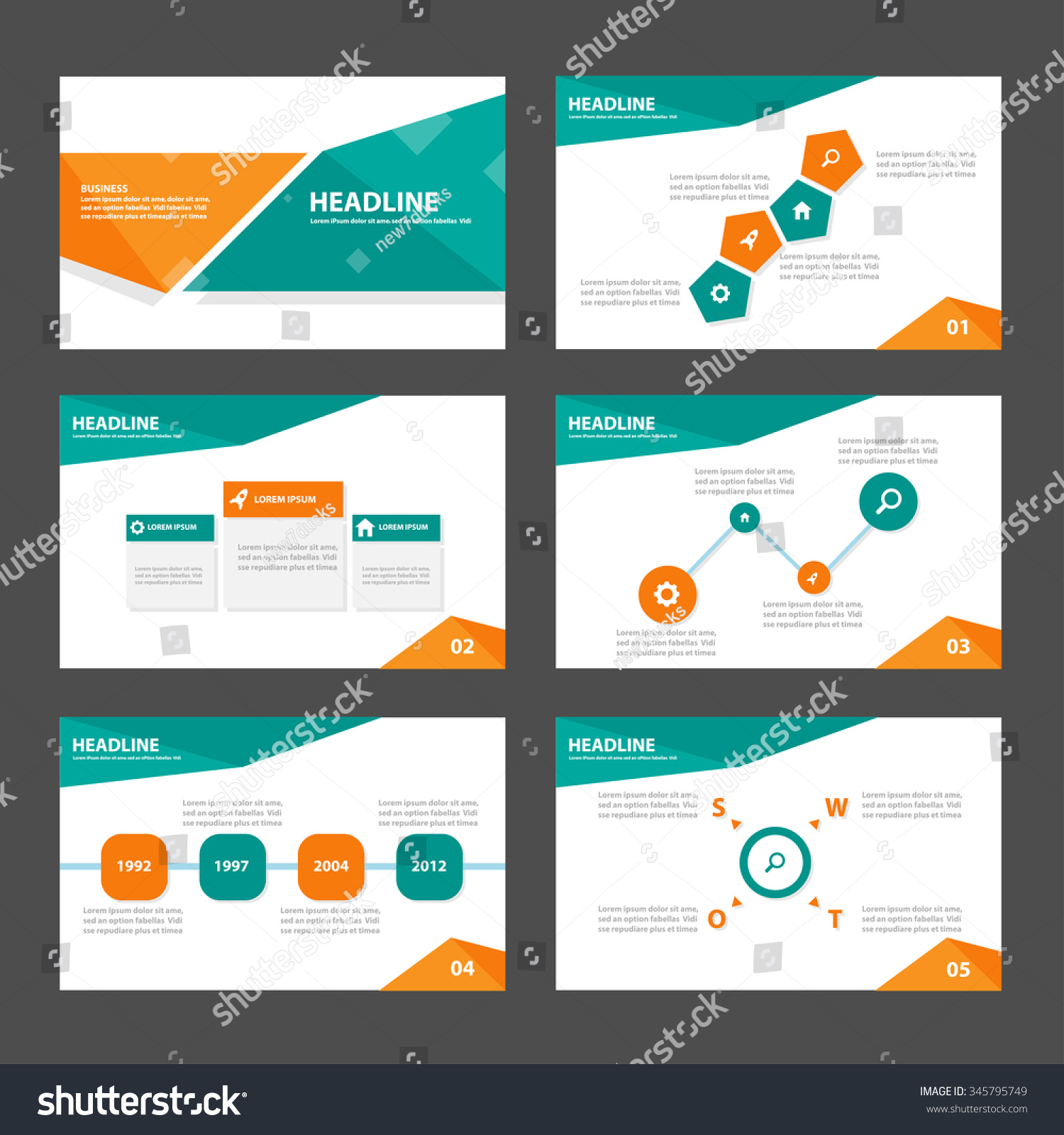green orange presentation template infographic elements stock vector 345795749 shutterstock. Black Bedroom Furniture Sets. Home Design Ideas