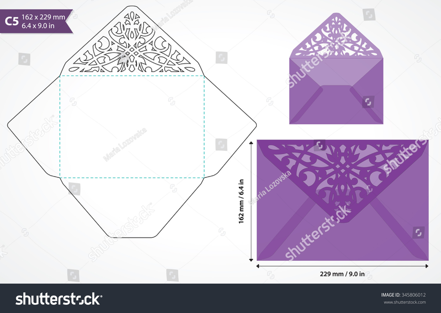 die cut envelope template vector standard stock vector 345806012