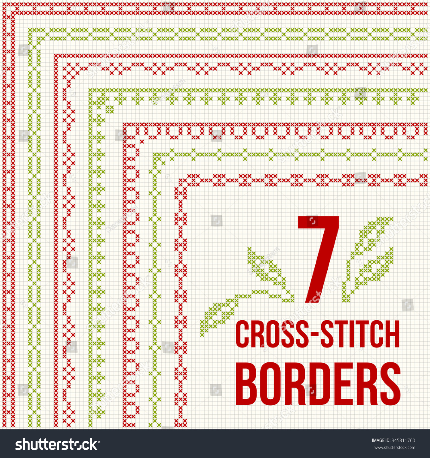 set of cross stitch pattern for thin borders geometric frames for cross stitch embroidery