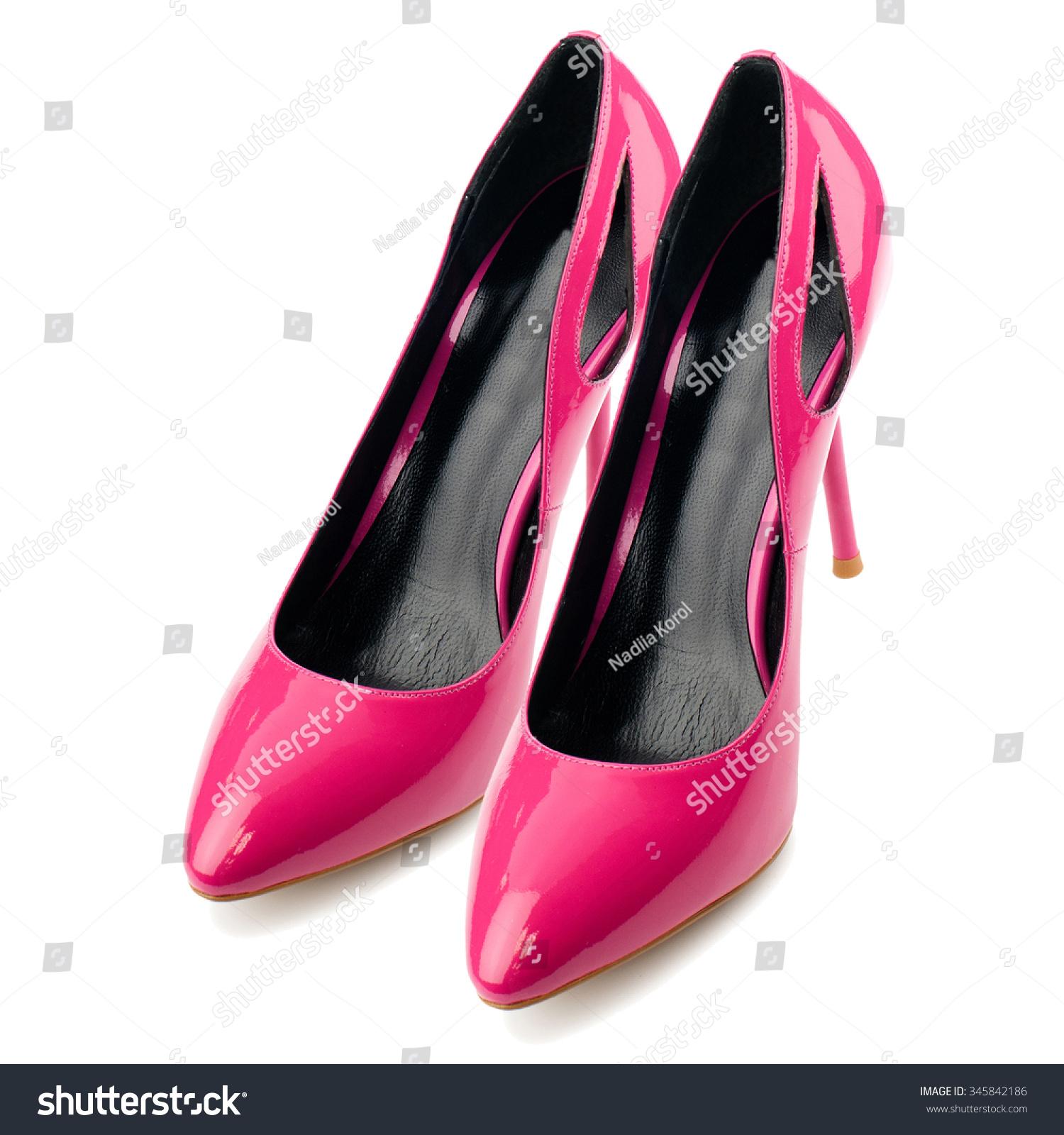Deep Pink Glossy High Heel Shoes Stock