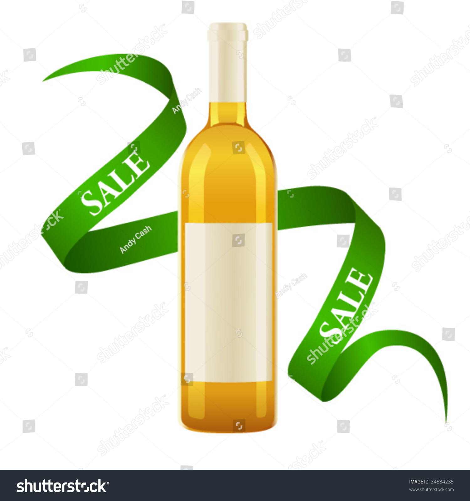 Vector Illustration White Wine Bottle With Label And ...