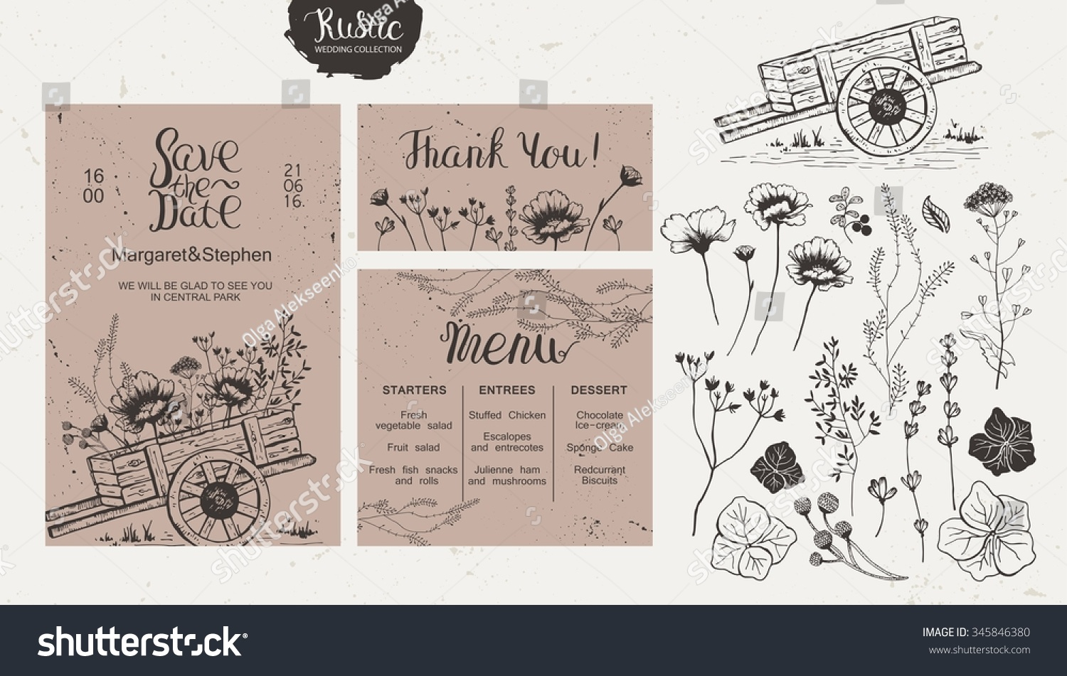 Rustic Style Wedding Collection Wedding Invitation Stock Vector ...