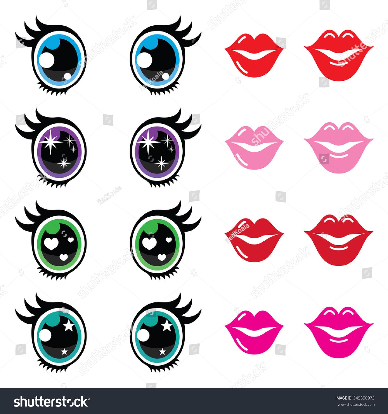 Kawaii Cute Eyes And Lips Icons Set, Kawaii Character Stock Vector ...