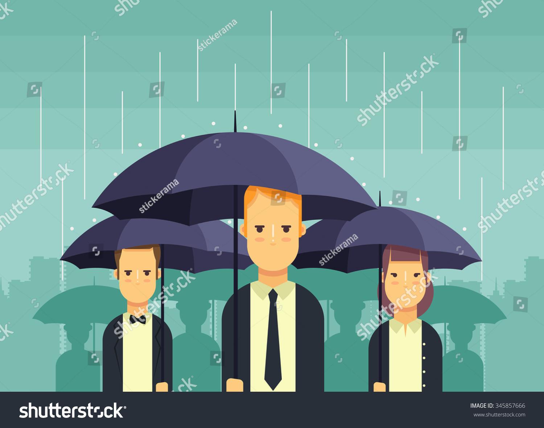 flat people umbrellas standing under rain stock vector 345857666