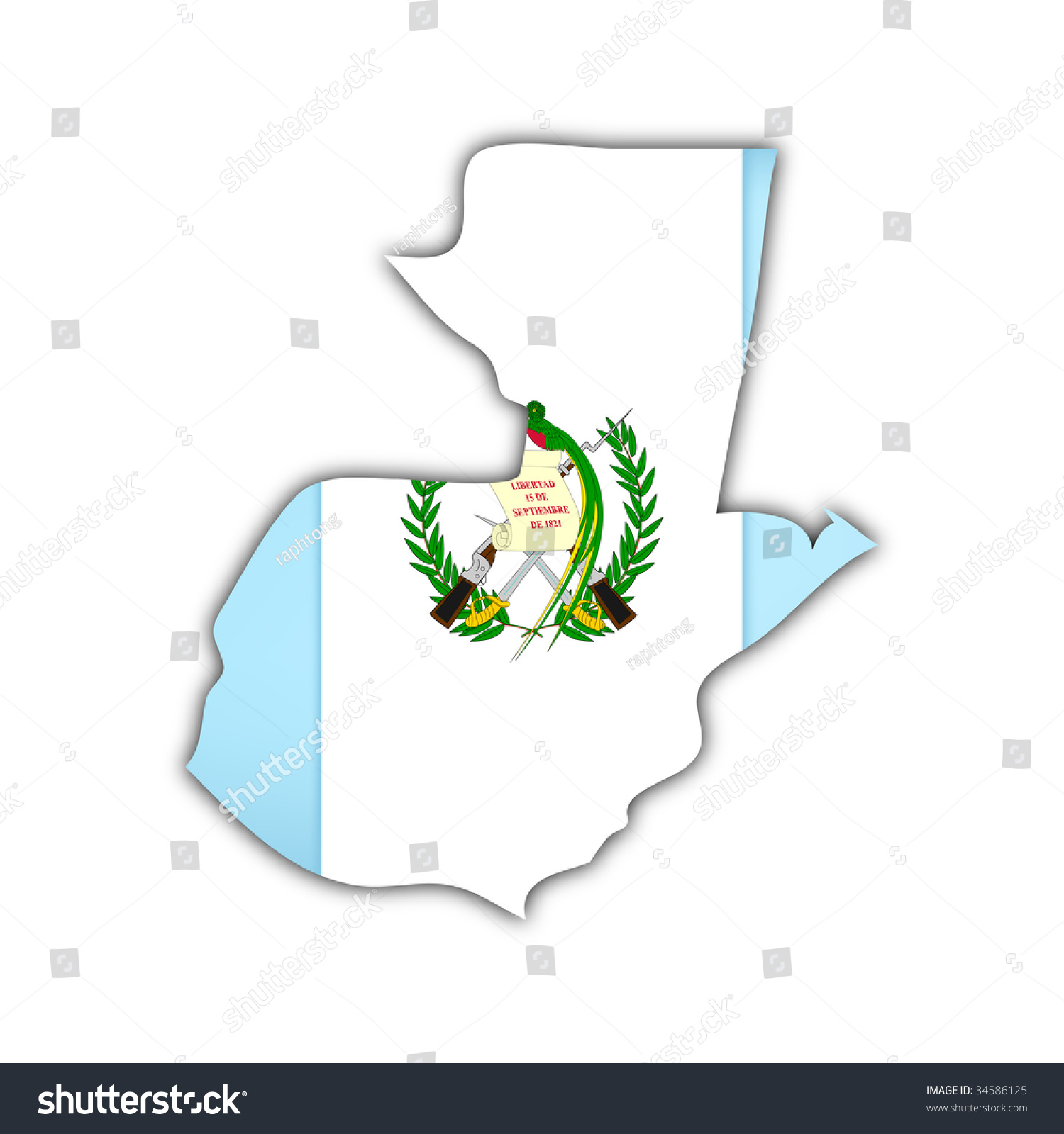 map flag guatemala shadow on white stock illustration