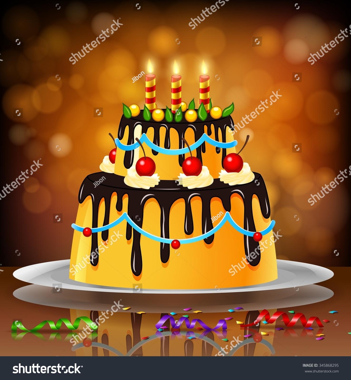 Peachy Beautiful Happy Birthday Cake On Artistic Stock Vector Royalty Funny Birthday Cards Online Hetedamsfinfo