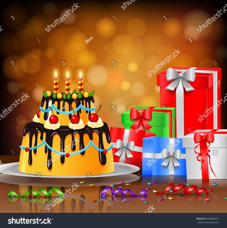 Stupendous Beautiful Happy Birthday Cake On Artistic Stock Vector Royalty Funny Birthday Cards Online Hetedamsfinfo