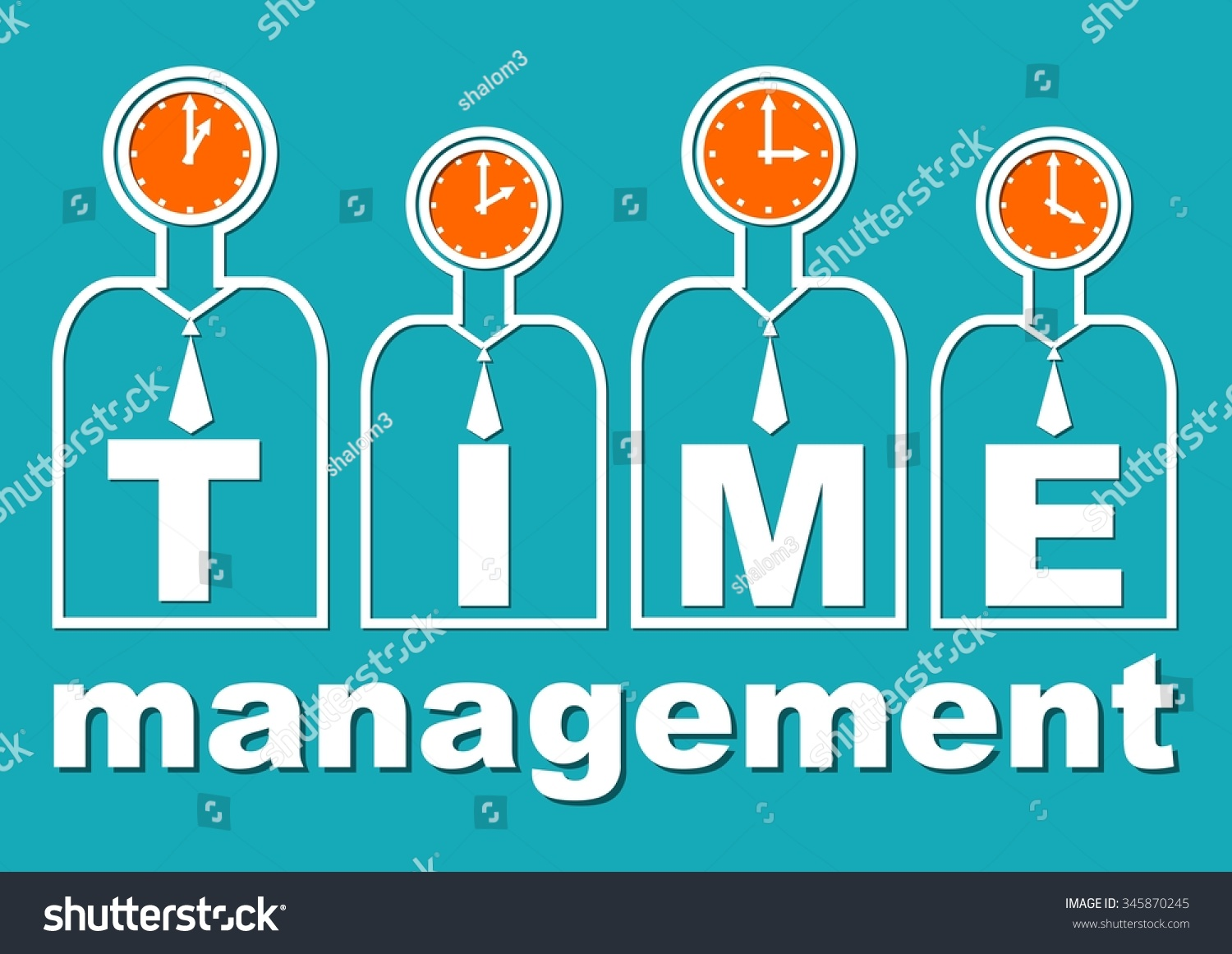 time management important component soft skills stock vector, Presentation templates