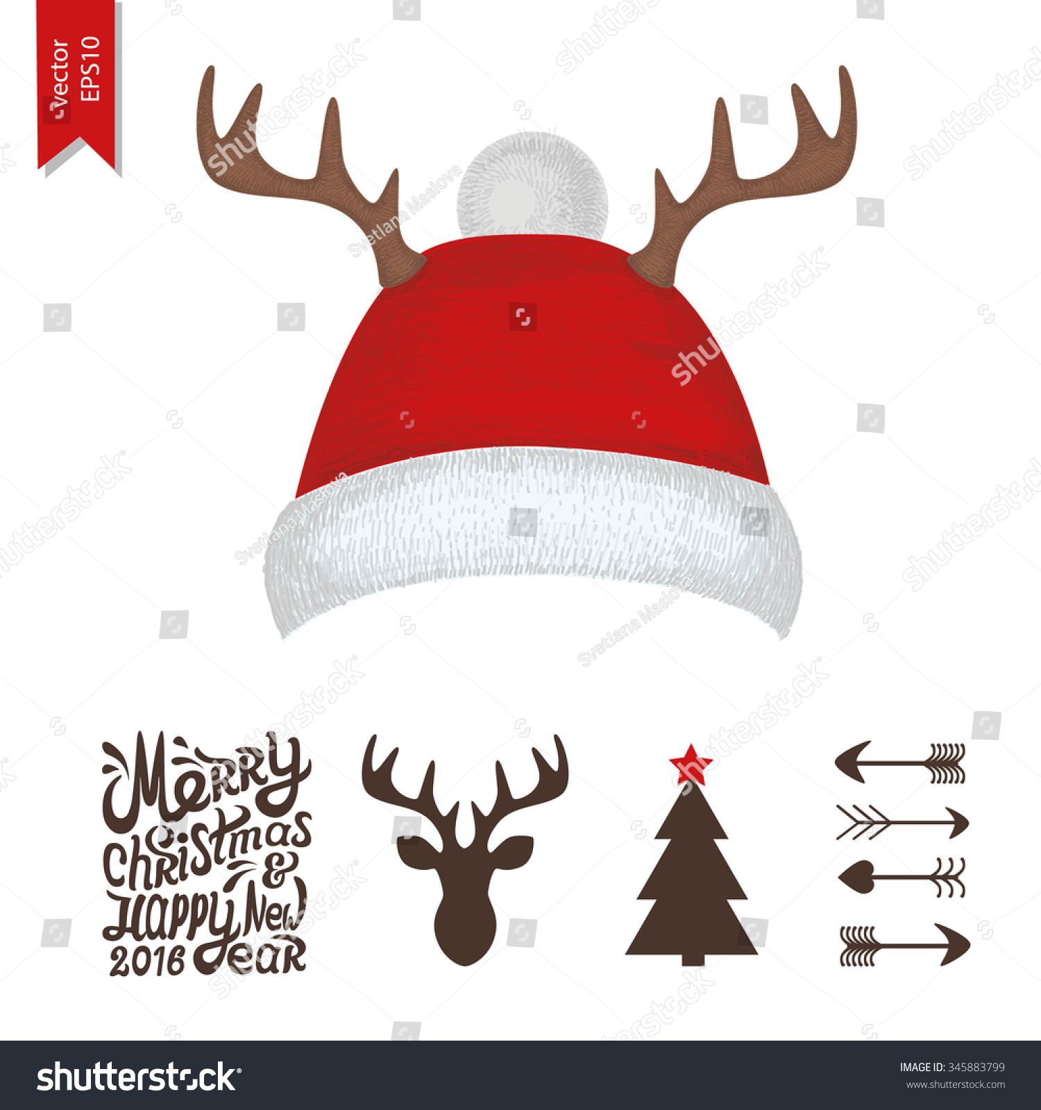 Fox with a hat new year or christmas animal isolated on white - Christmas Hat With Deer Horns For Your Design Merry Christmas And Happy New Year Text