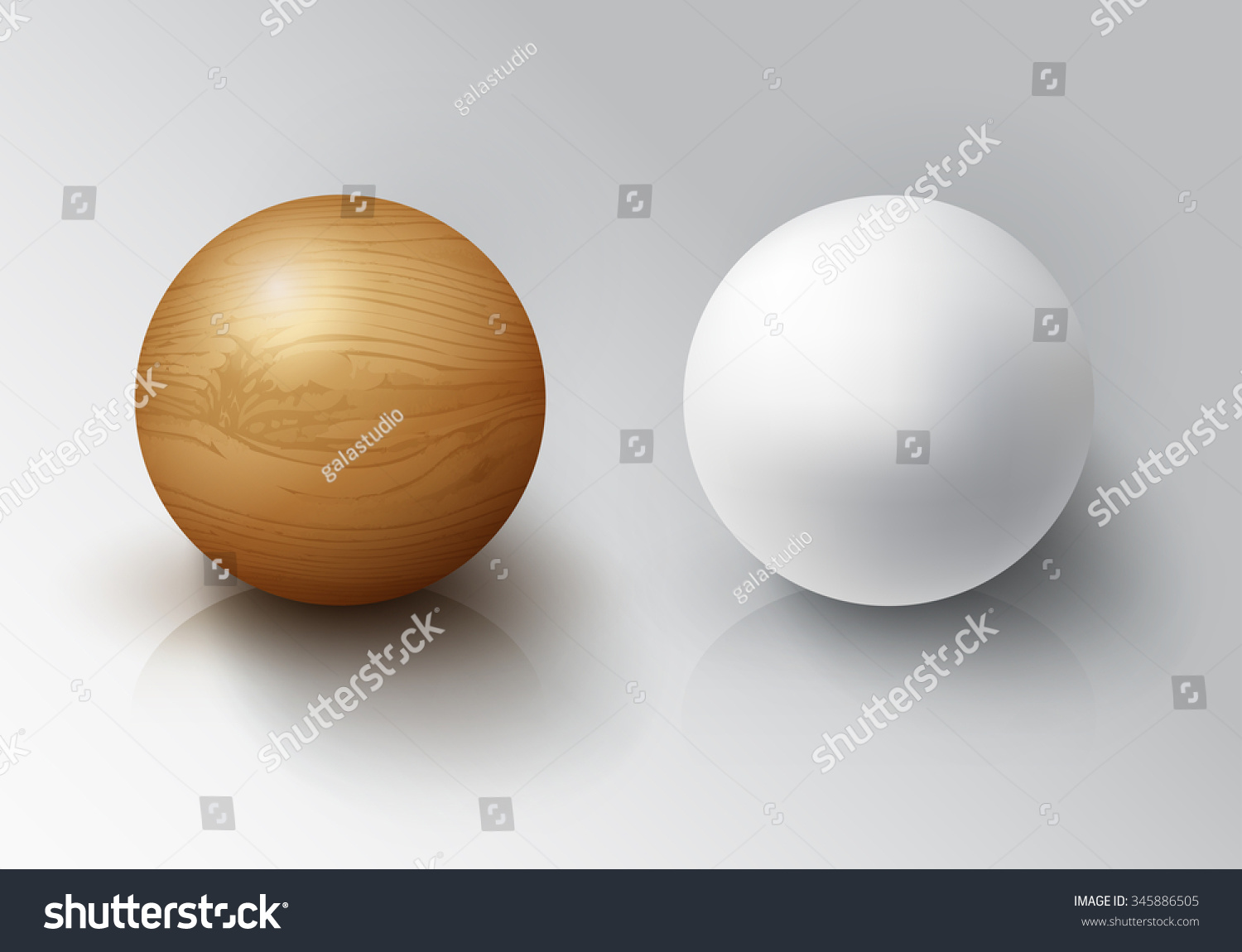 set realistic 3d white ball wooden stock vector 345886505