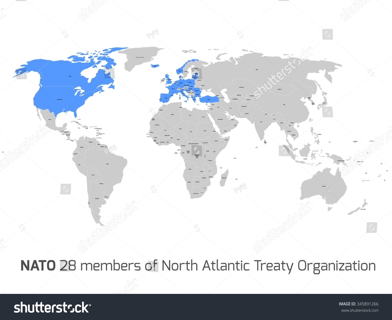 28 nato member countries highlighted by blue in blank world political map