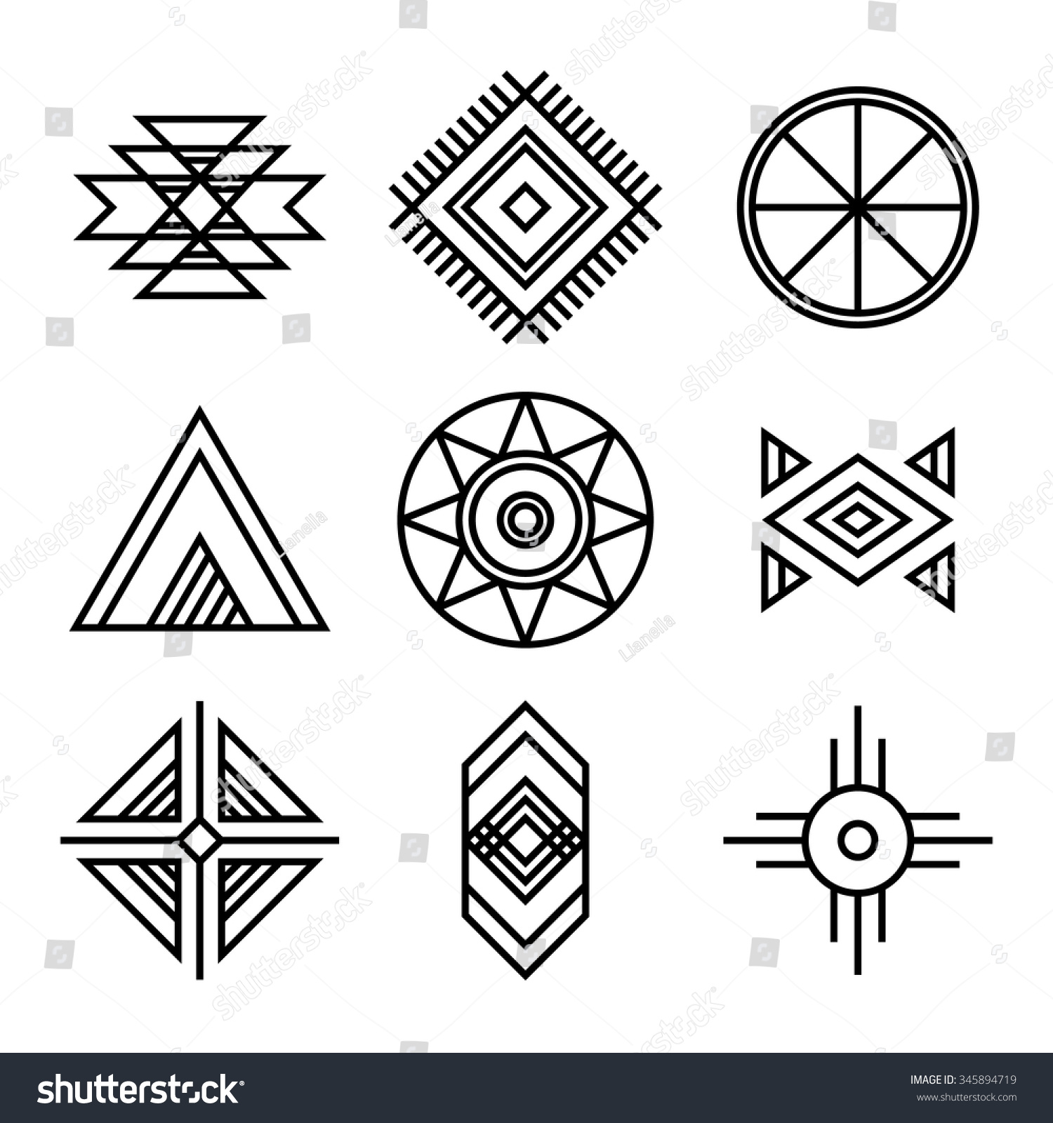Native American Indians Tribal Symbols Set Stock Vector ...