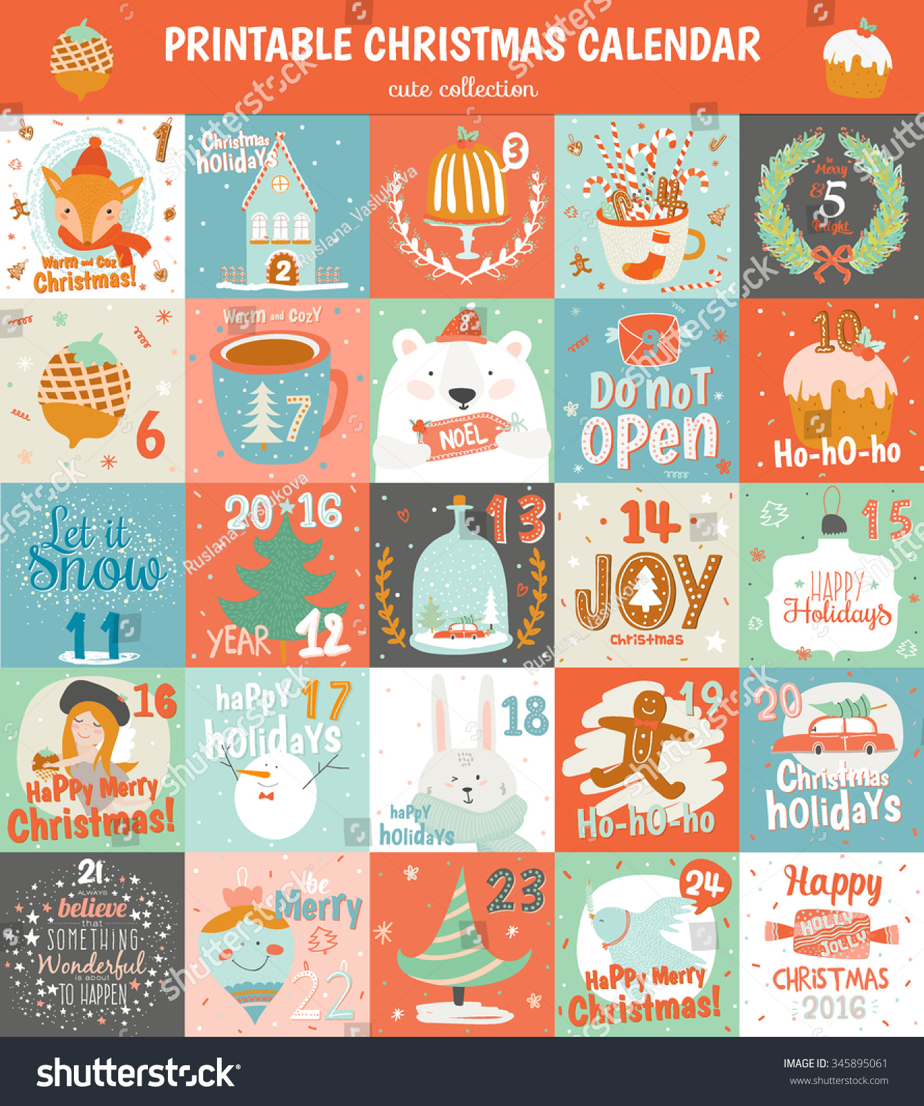 Calendar Symbols Printables : Printable advent calendar vector cute christmas stock