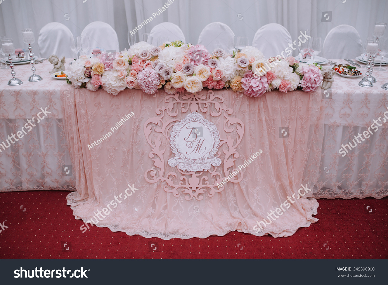 Bride Groom Table Decoration Wedding Table Bride Groom Decorative Rose Stock Photo 345896900