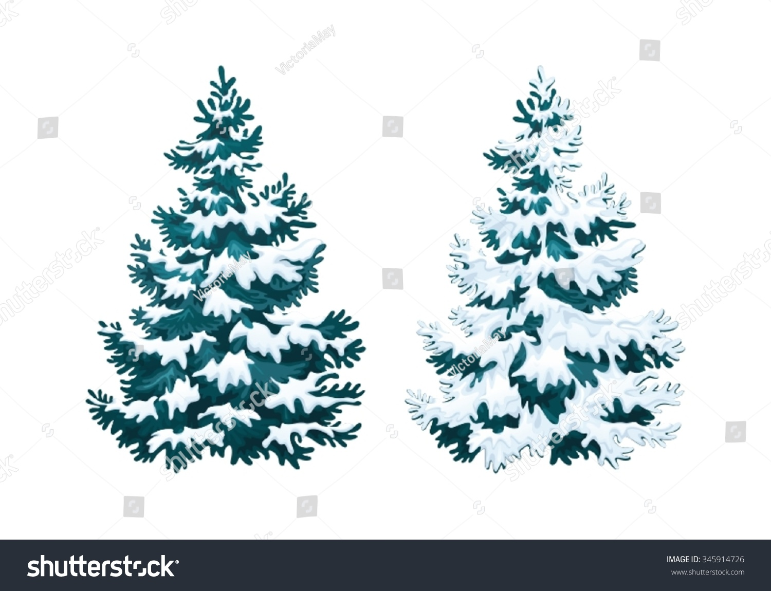 Realistic christmas tree drawing - Realistic Vector Illustration Of Fir Tree In Snow On White Background Blue Fluffy Pine