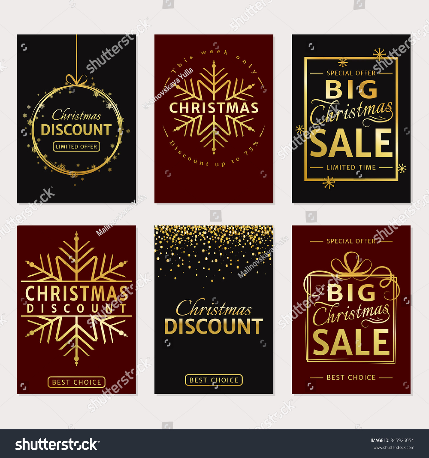 Christmas Sale Discount Templates Set Luxury Stock Vector ...