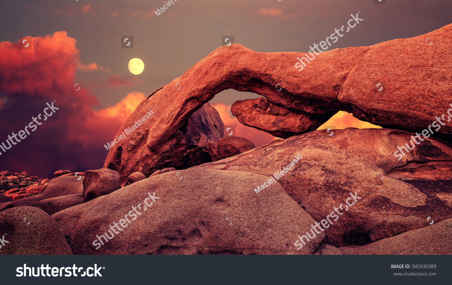 Purple Sunset Rising Moon Over Arch Stock Photo Edit Now 345930389