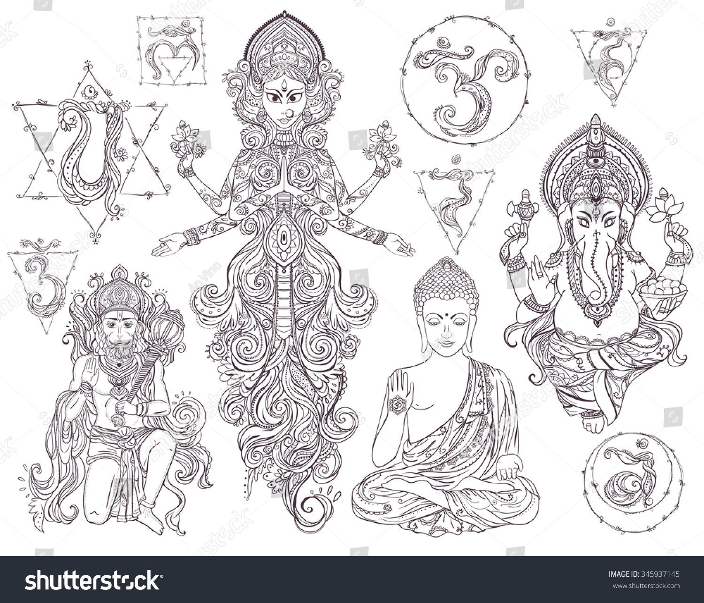set hindu gods ganesh hanuman navratri stock vector