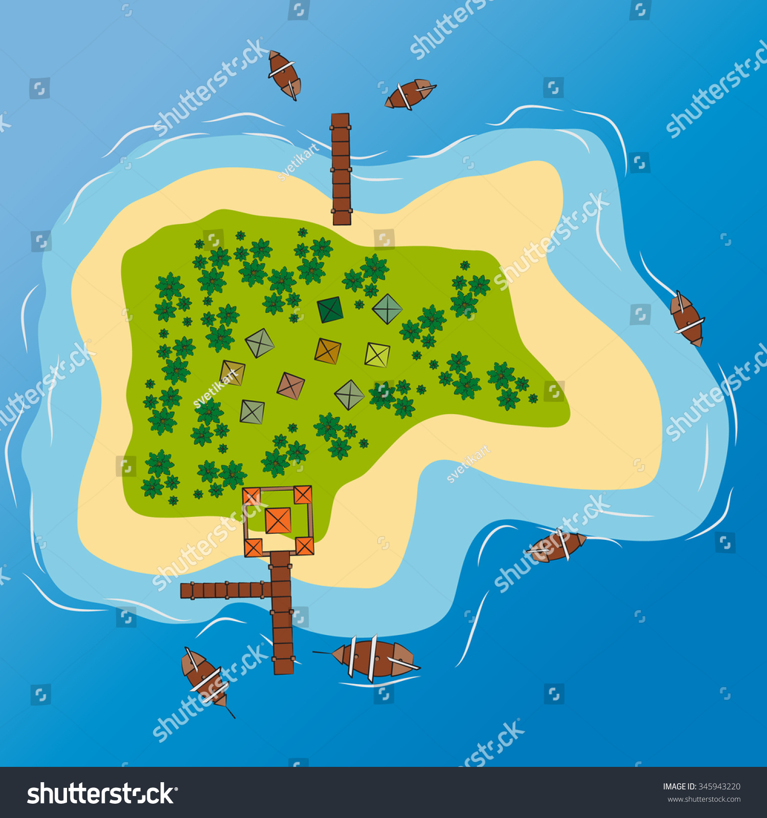 Tropical Island Top View Vector Drawing Vectores En Stock ... Island Top View Vector
