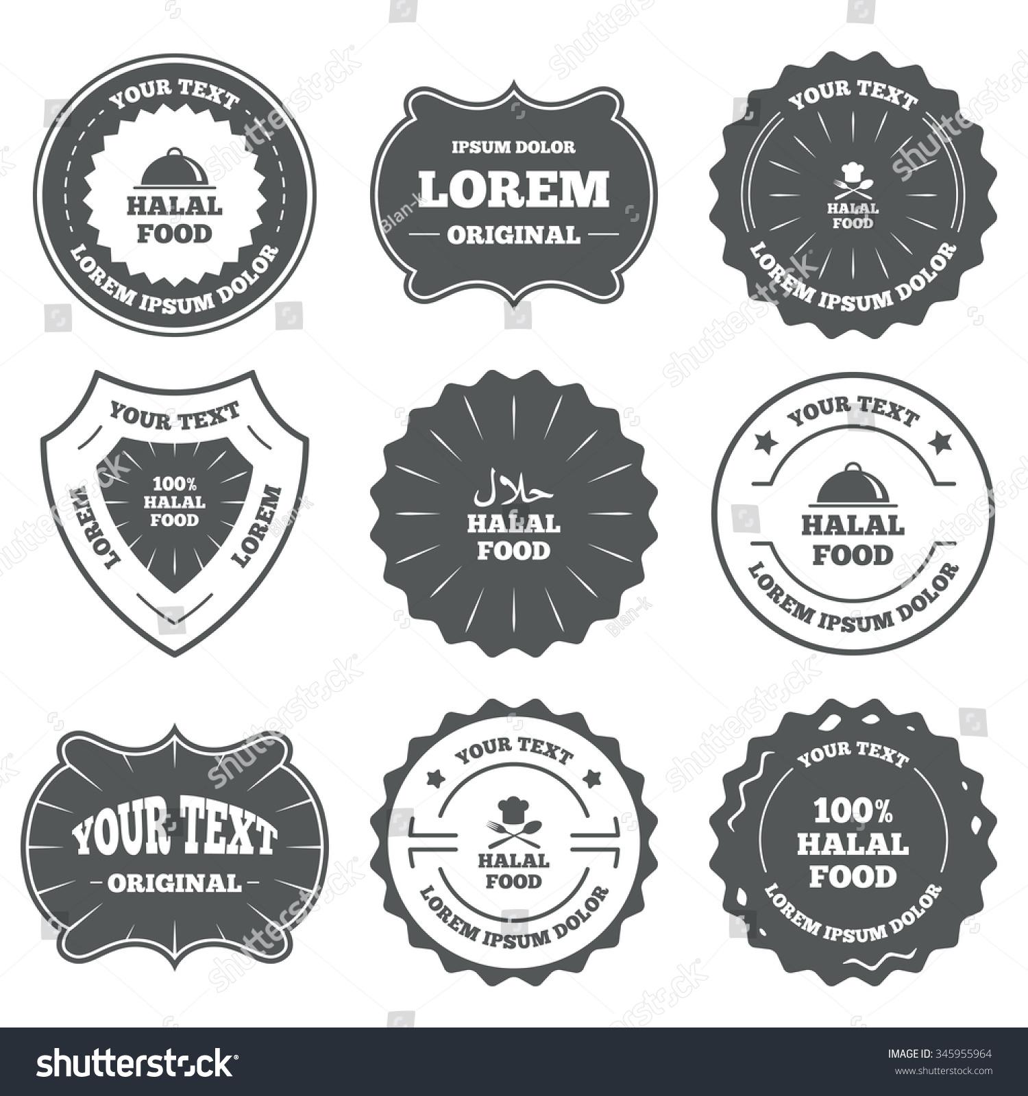 Vintage emblems labels halal food icons stock illustration halal food icons 100 natural meal symbols chef buycottarizona