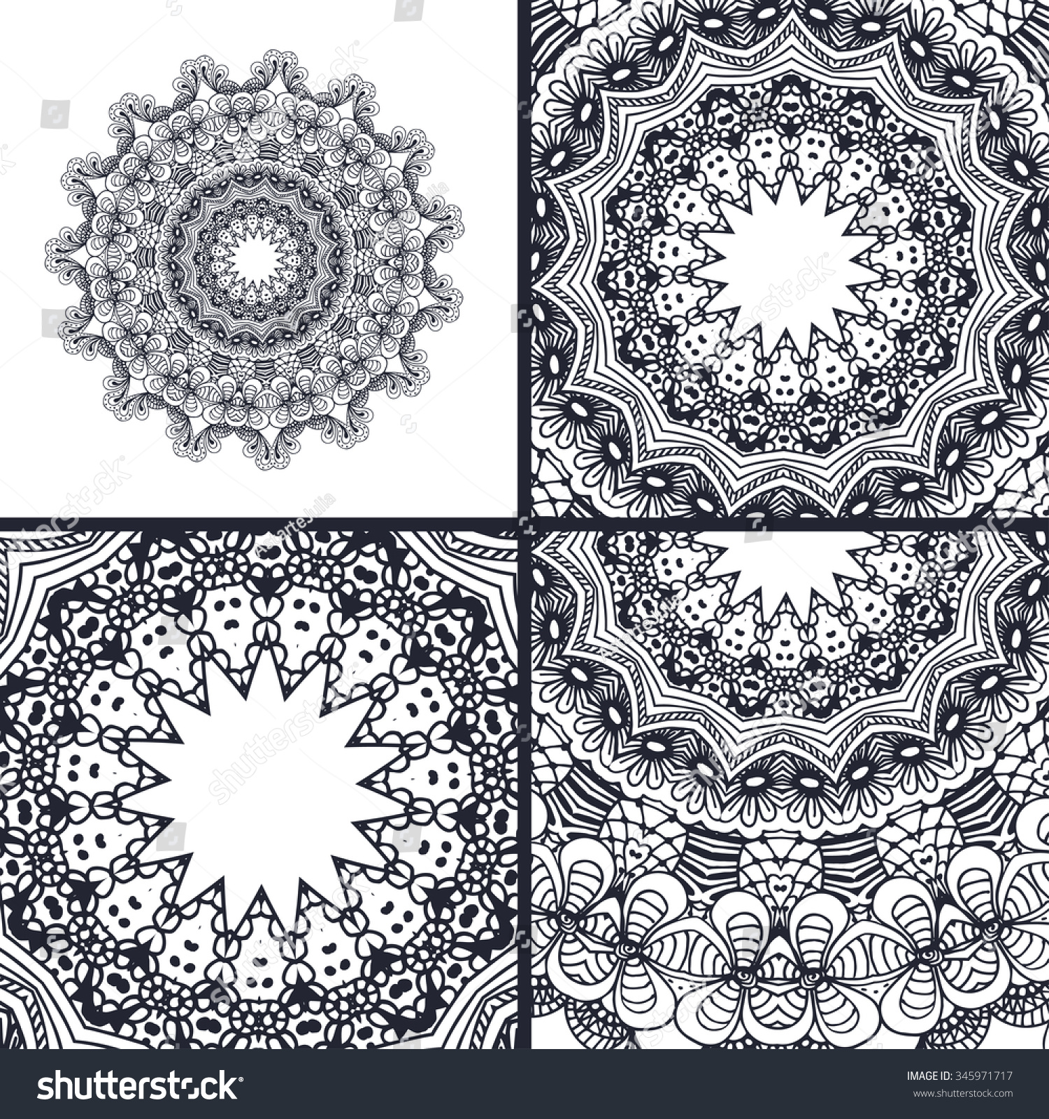Vector Abstract Coloring Pages Mandala Islam Stock Vector