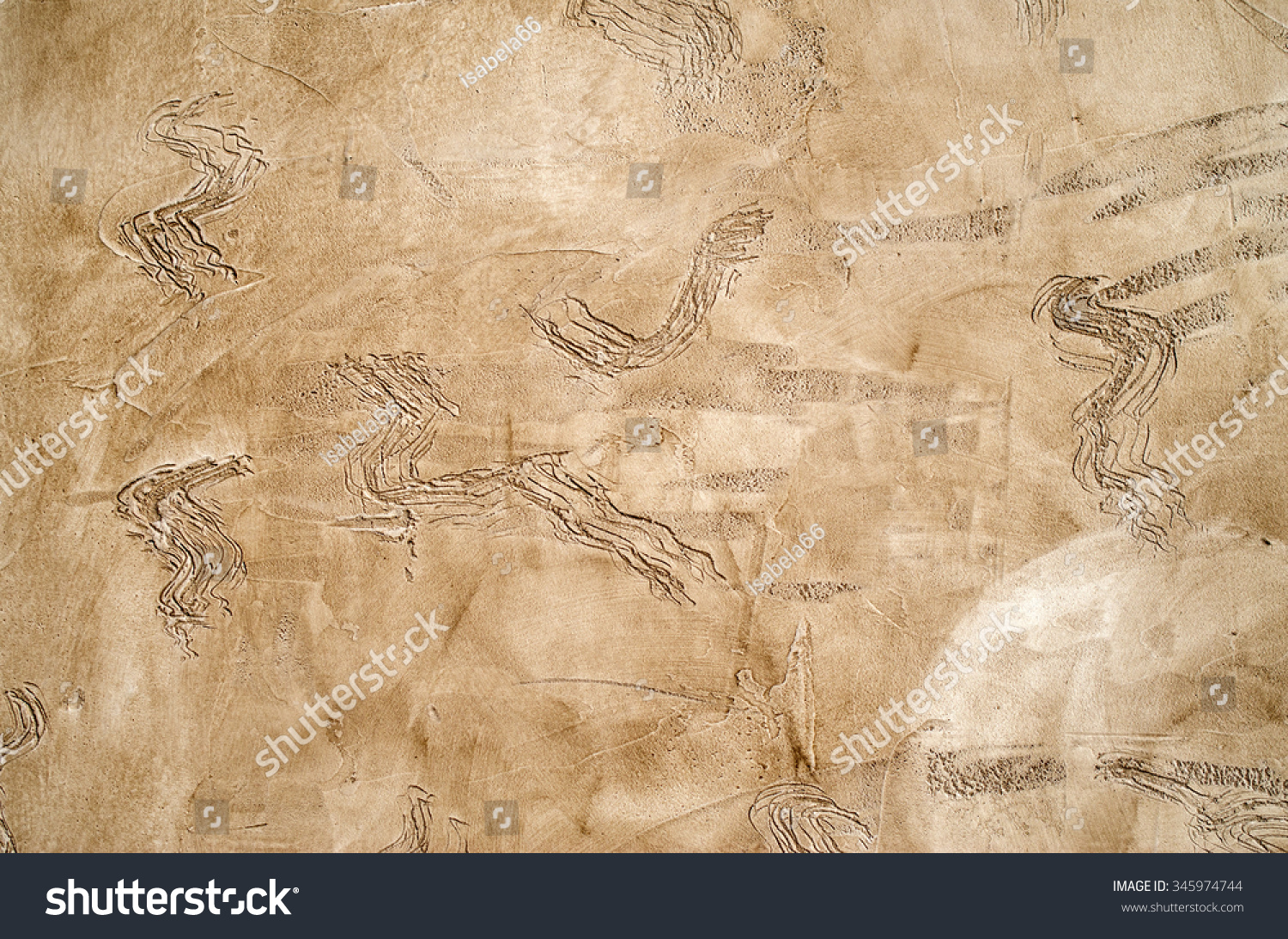 New brown decorative relief plaster on wall closeup | EZ Canvas