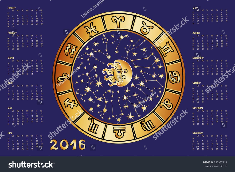 Calendar Organization Zodiac : New year calendar horoscope circle with zodiac sign