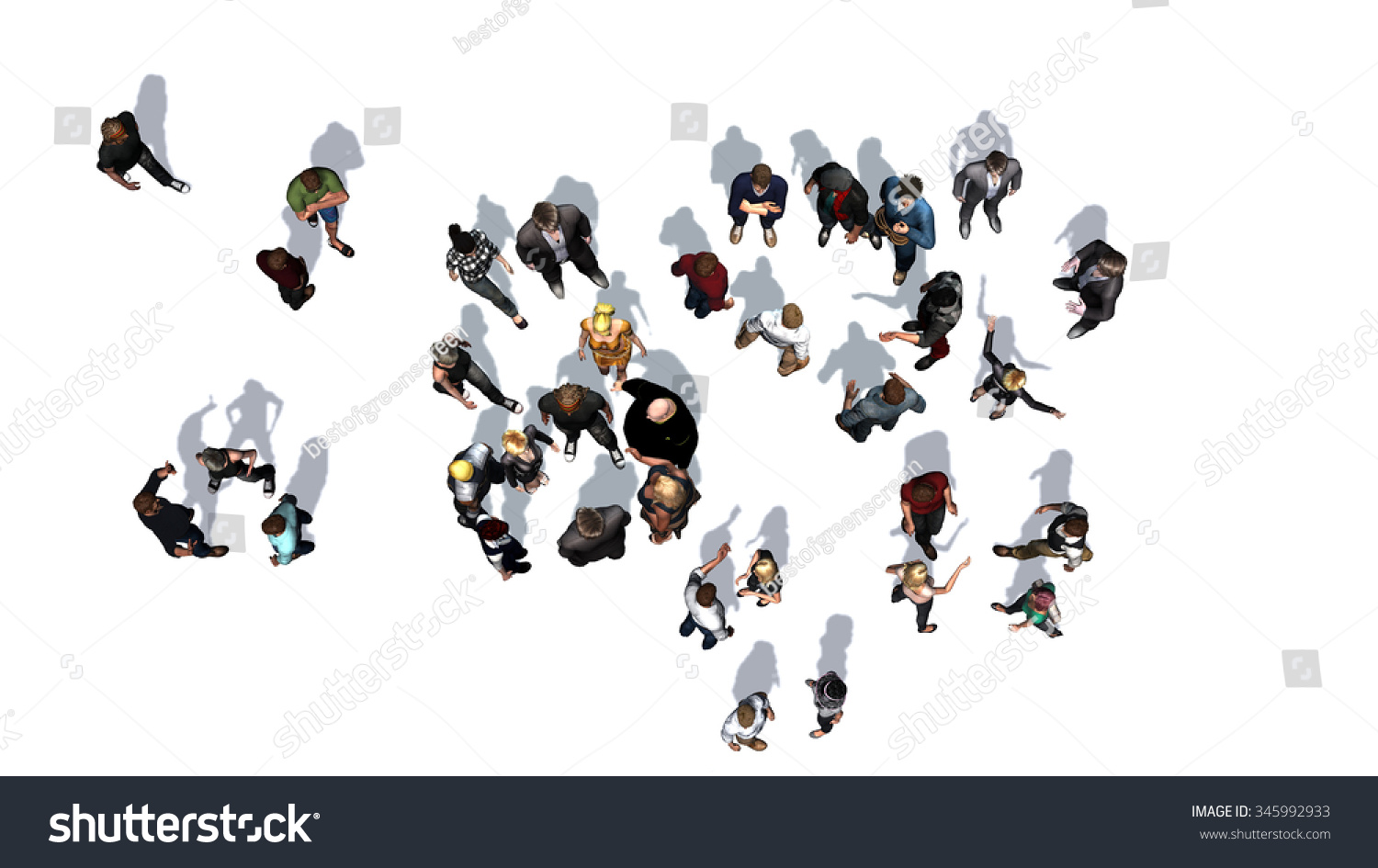 Stock Photo A Crowd Of People Top View On A White Background
