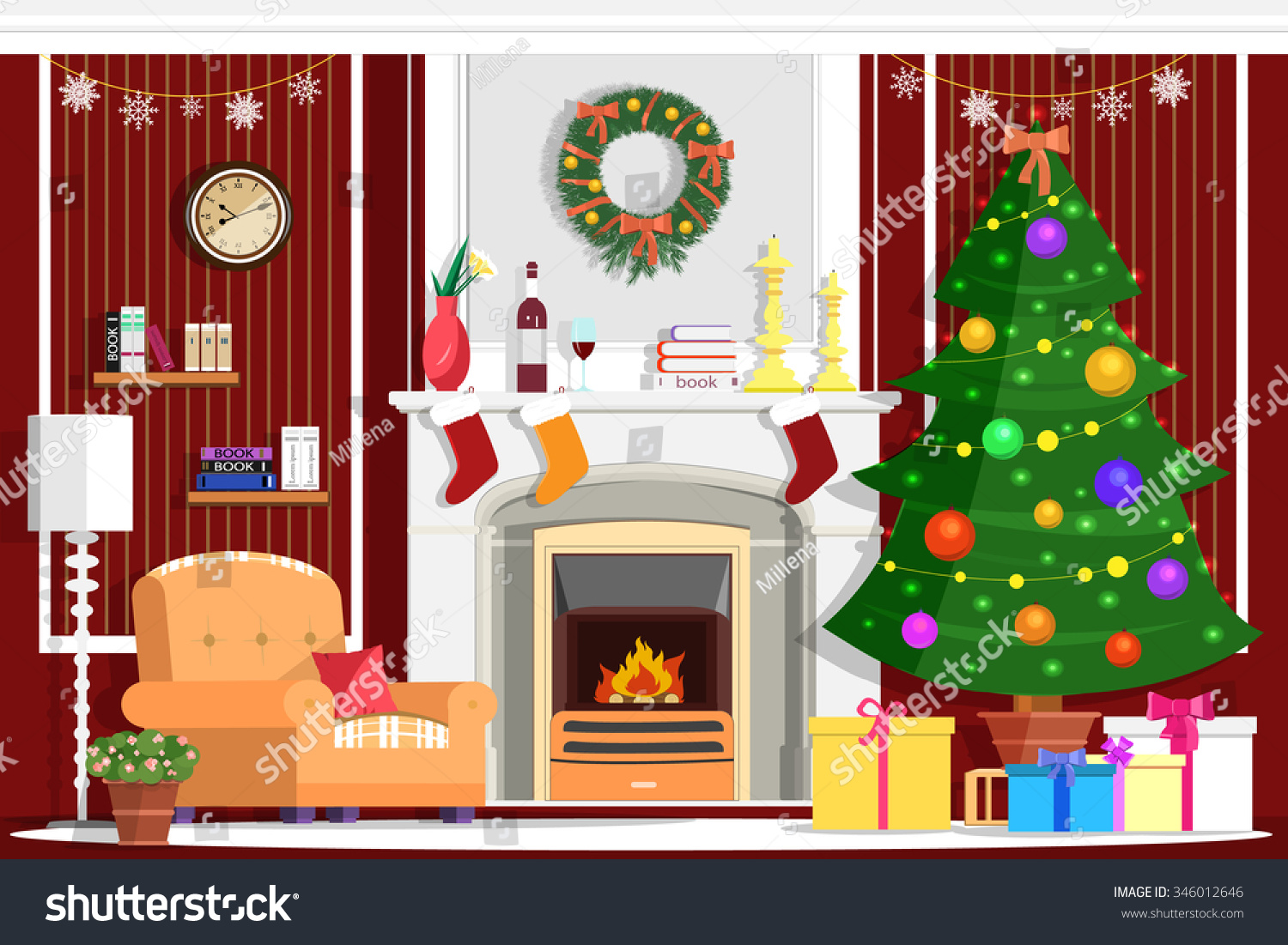 colorful vector christmas room interior design stock vector