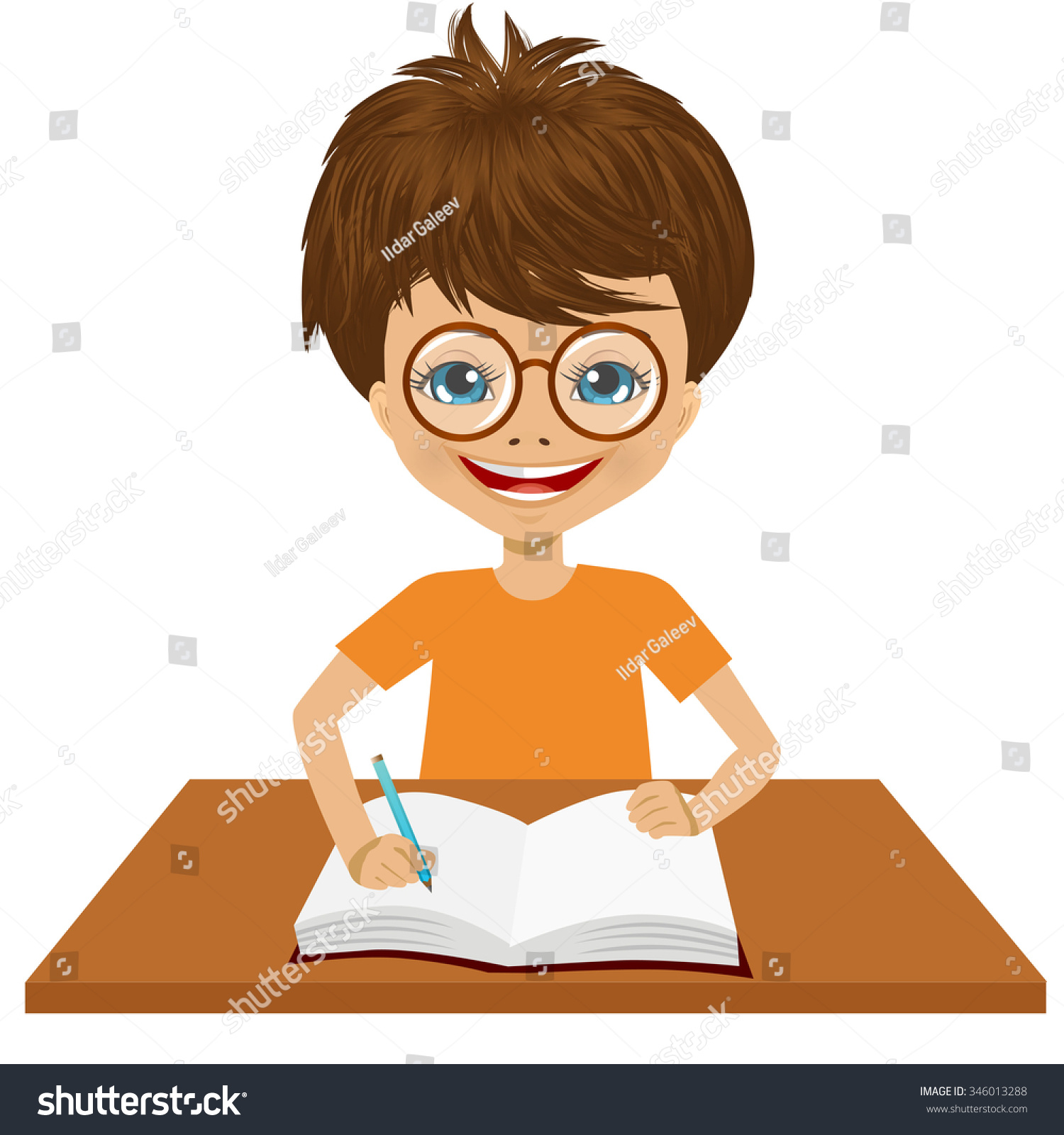 Portrait Cute Little Caucasian Student Boy Stock Vector 346013288 - Shutterstock