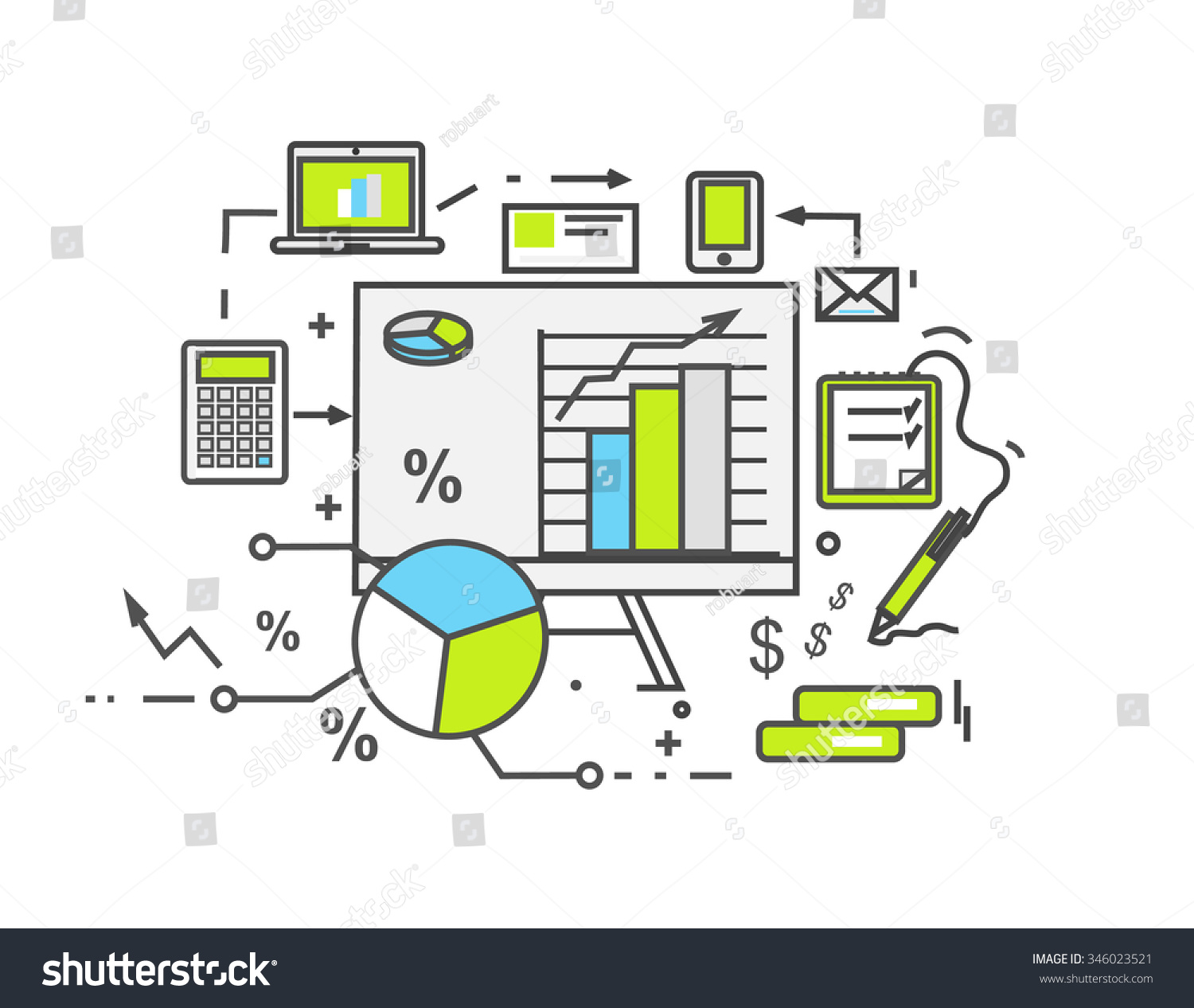 data analysis icon flat design business stock illustration business information finance document chart analytic strategy