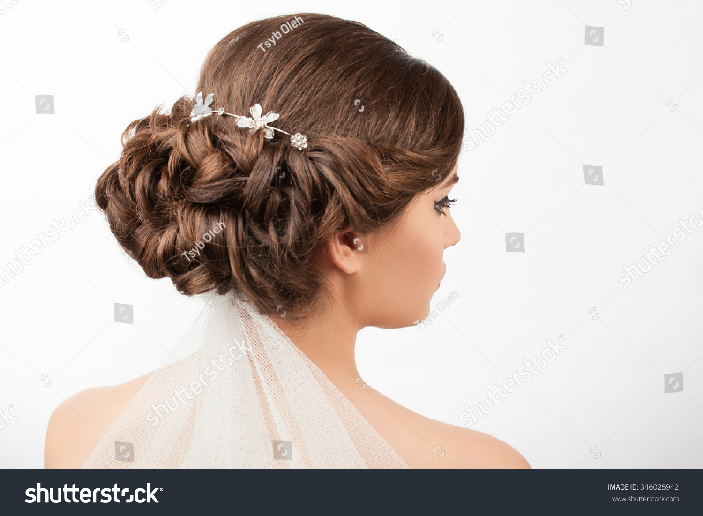 Bride Wedding Hairstyle Veil On White Stock Photo 346025942 ...