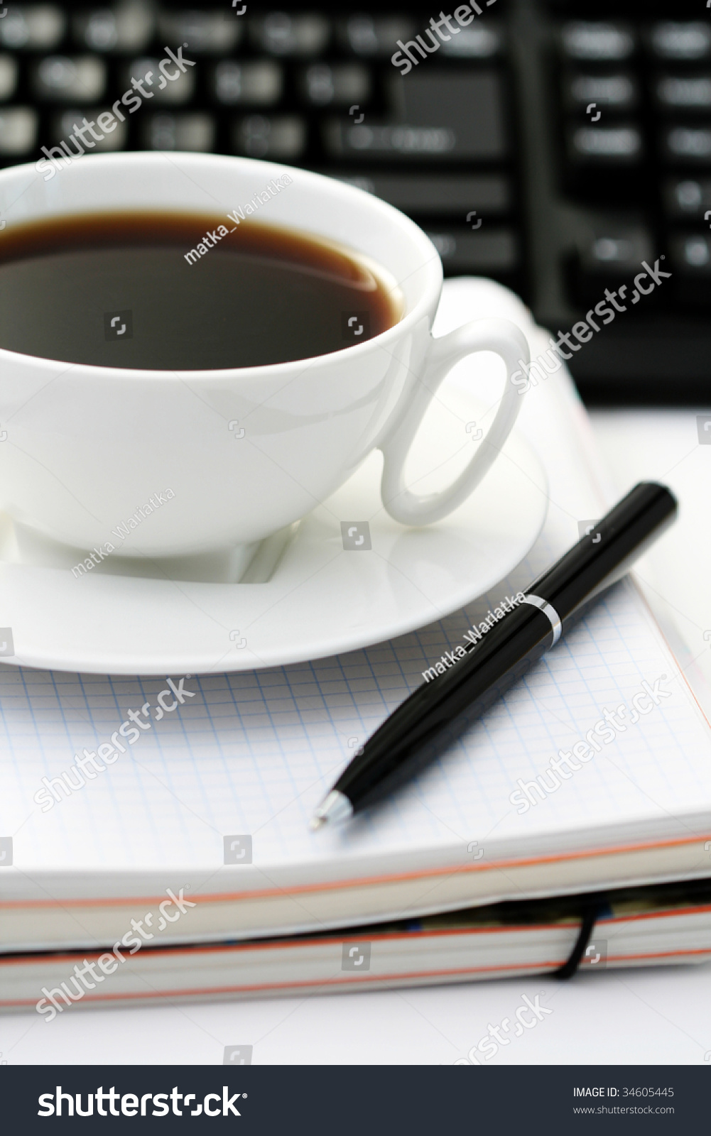 Coffee At Work ~ Cup of coffee at work lots to do stock photo