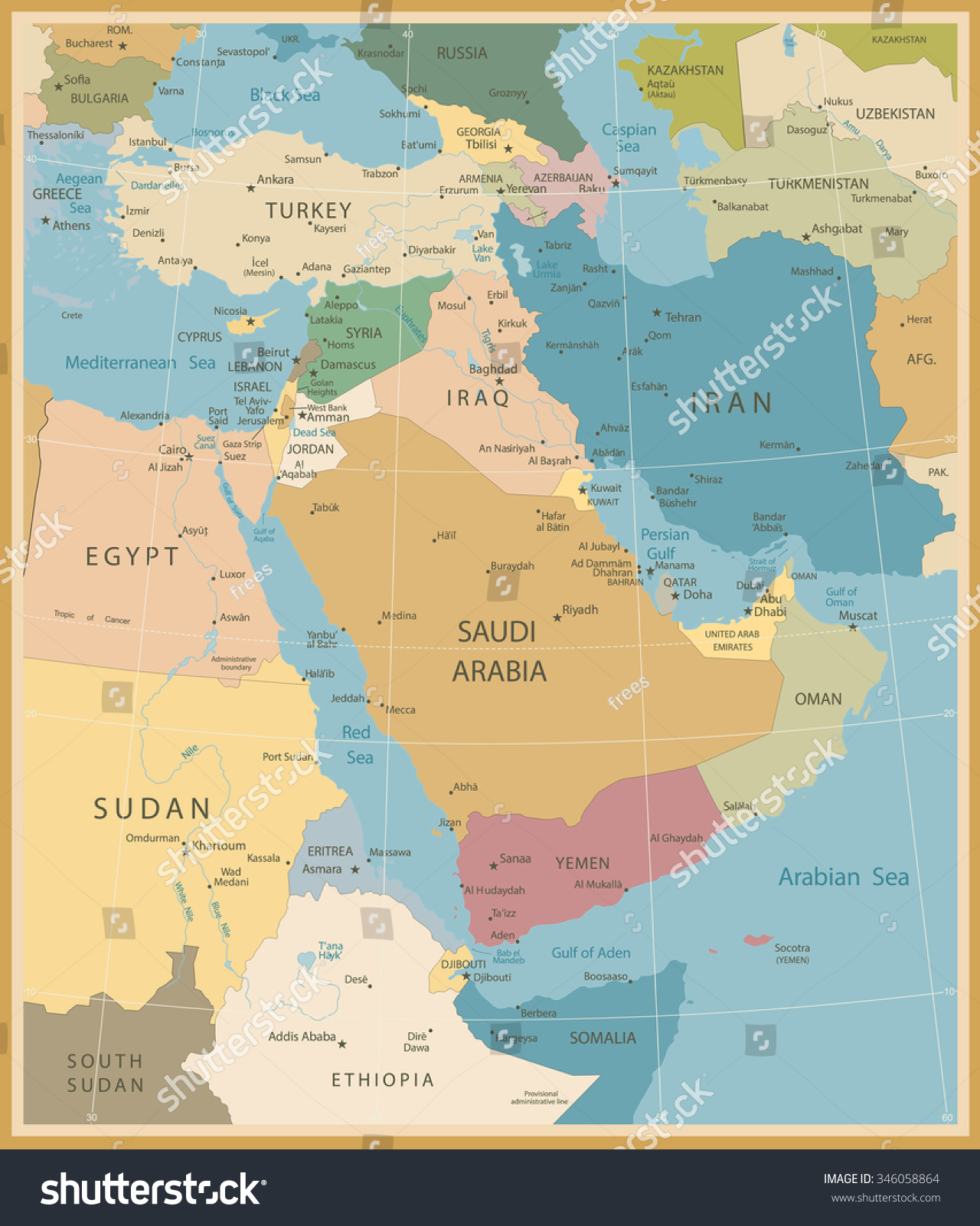 Middle East West Asia Map Vintage Stock Vector 346058864 Shutterstock