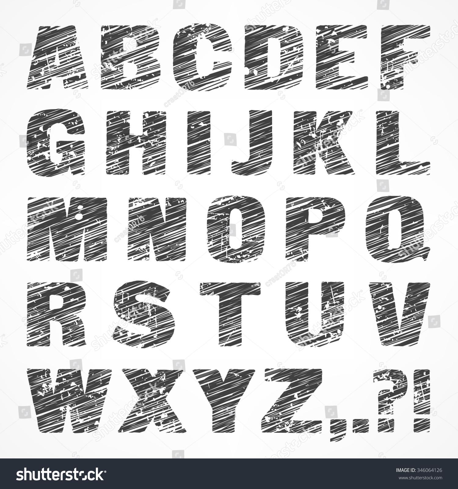 Gray Alphabet Font: Alphabet Caps Sketch Letters Grey Color Stock Vector