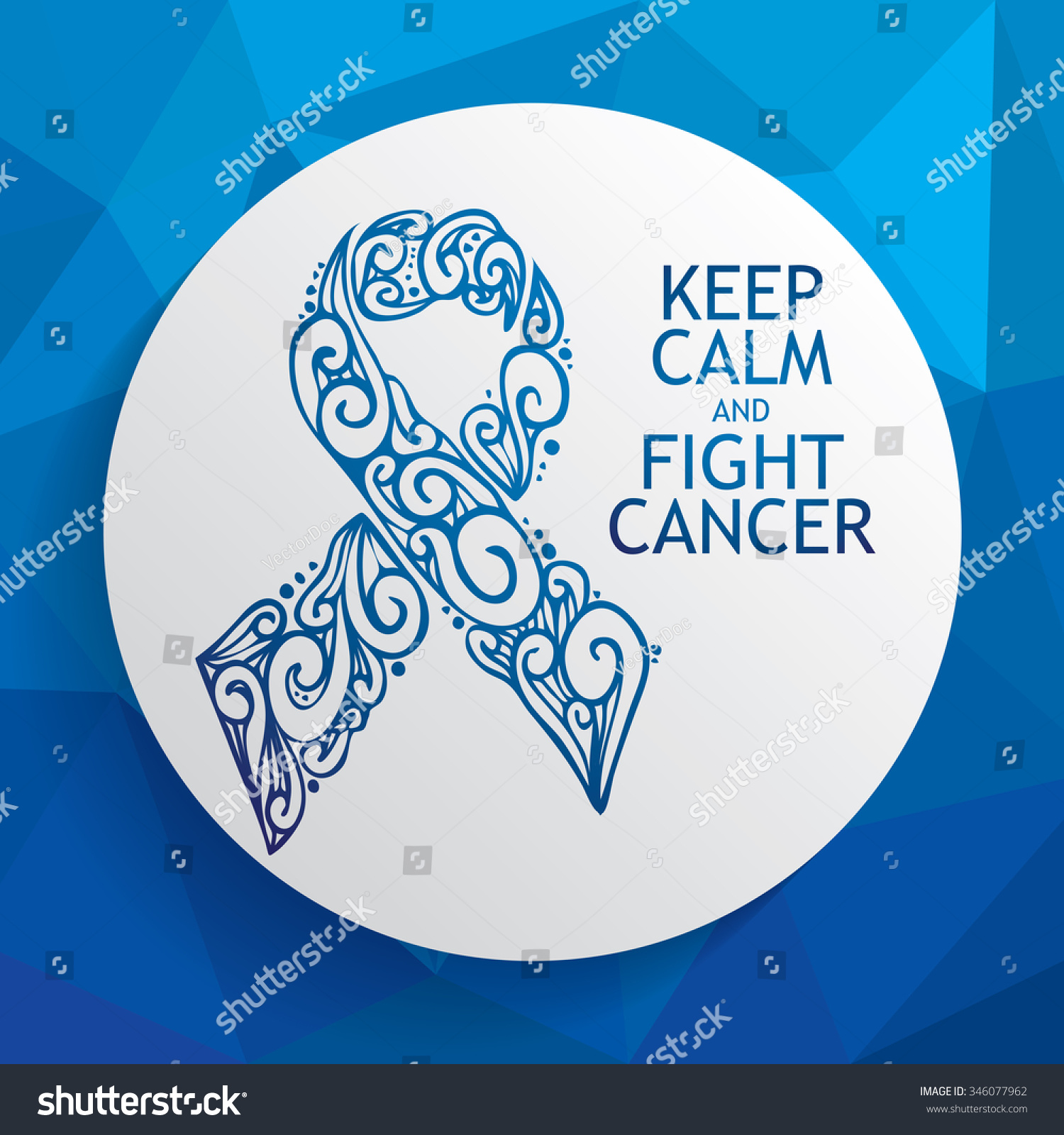 Hand Drawn Blue Ribbon Prostate Rectal Stock Vector 346077962