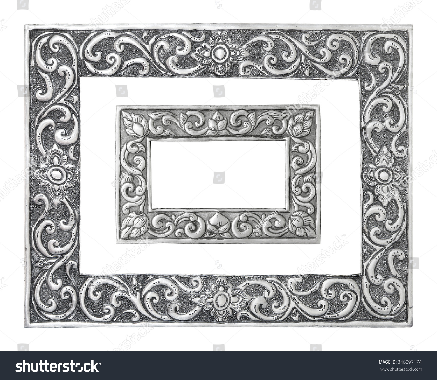 Old Decorative Silver Frame Handmade Engraved Stock Photo (Edit Now ...