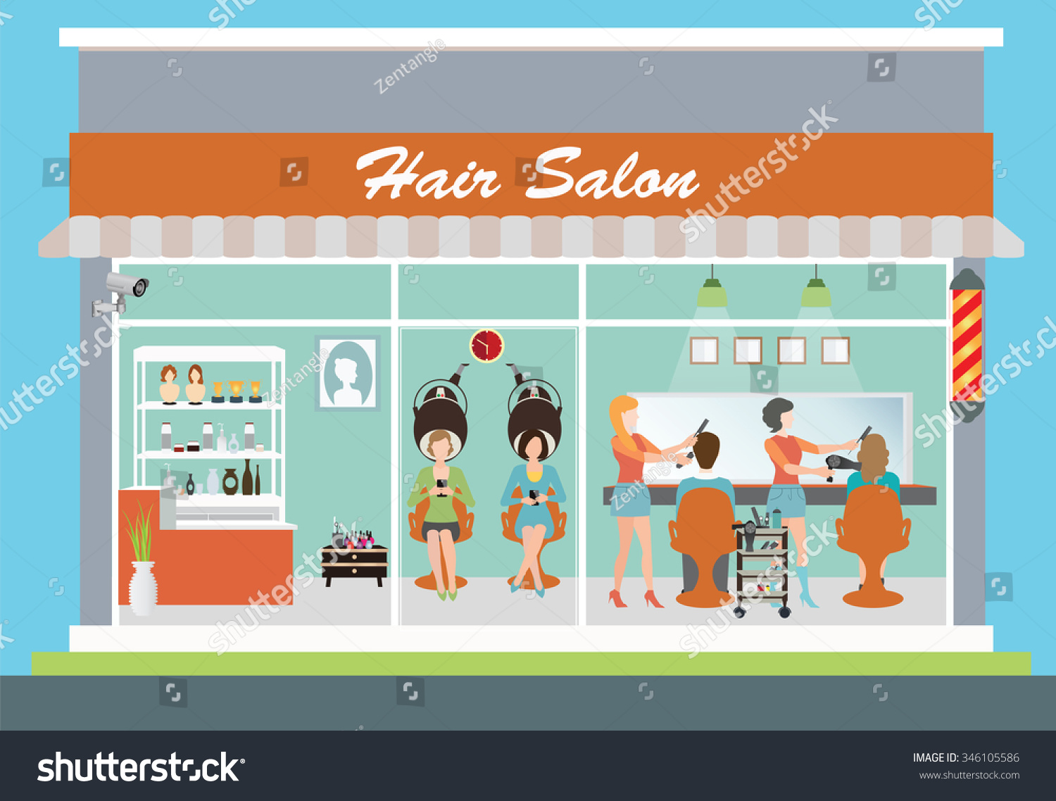 Hair Salon Building Interior Customer Hairdresser Stock