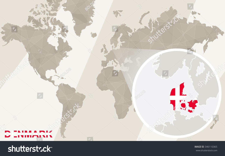 Zoom on denmark map flag world stock illustration 346110365 zoom on denmark map and flag world map rasterized copy gumiabroncs Choice Image