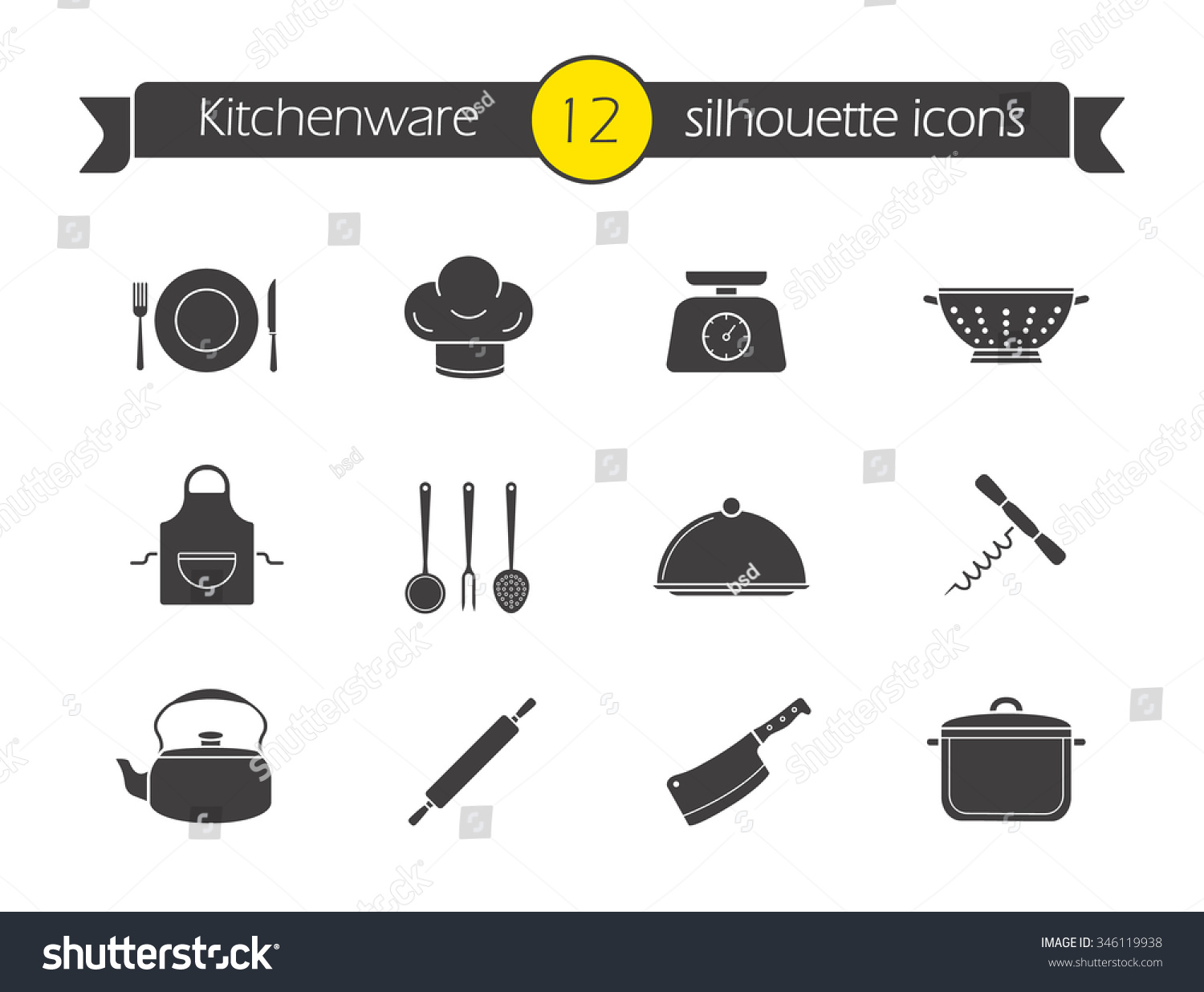 Restaurant Kitchen Toolste kitchen tools silhouette icons set household stock illustration