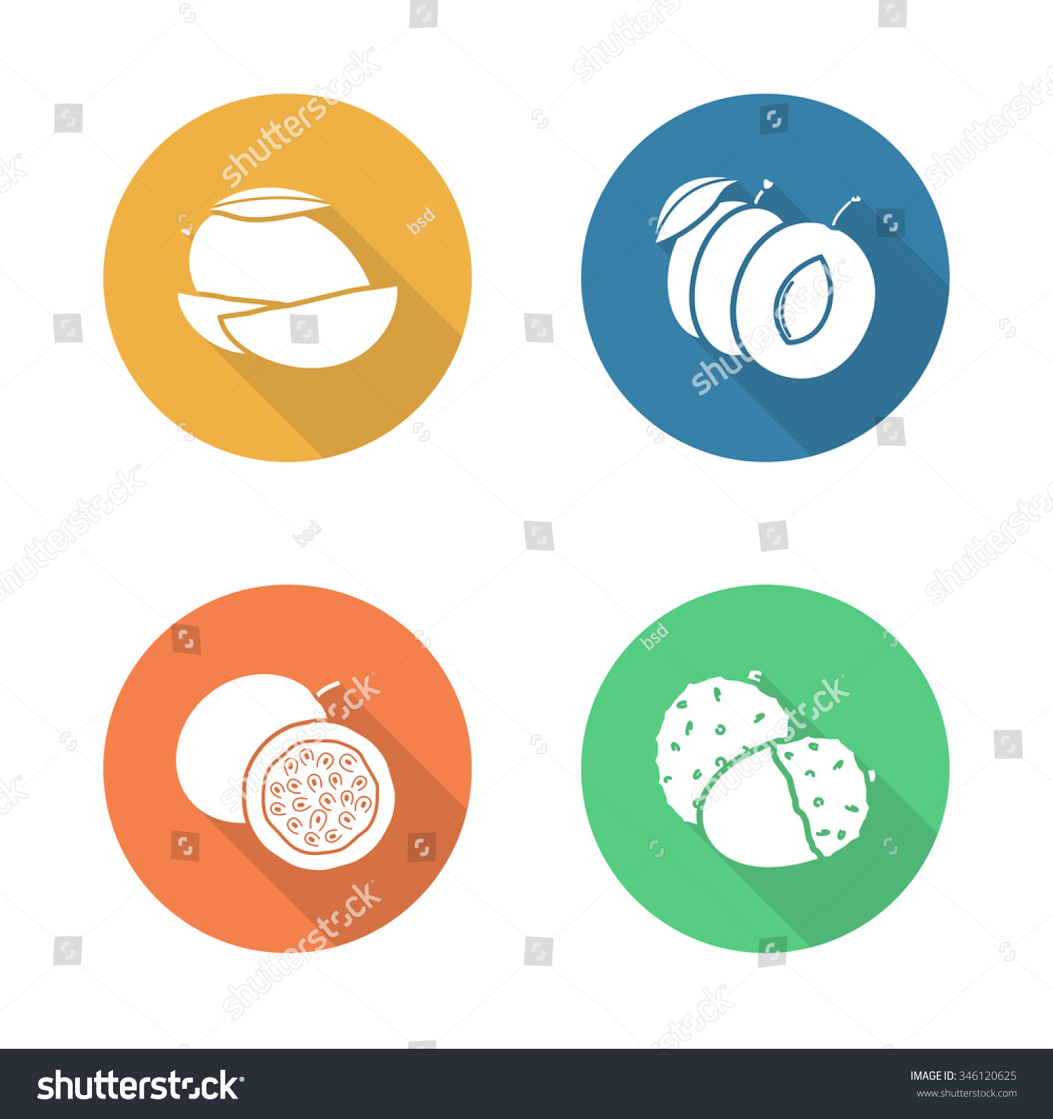 Fruits Flat Design Icons Set Sliced Stock Illustration 346120625 Ode To  Conti's Mango Bravo How To Cut