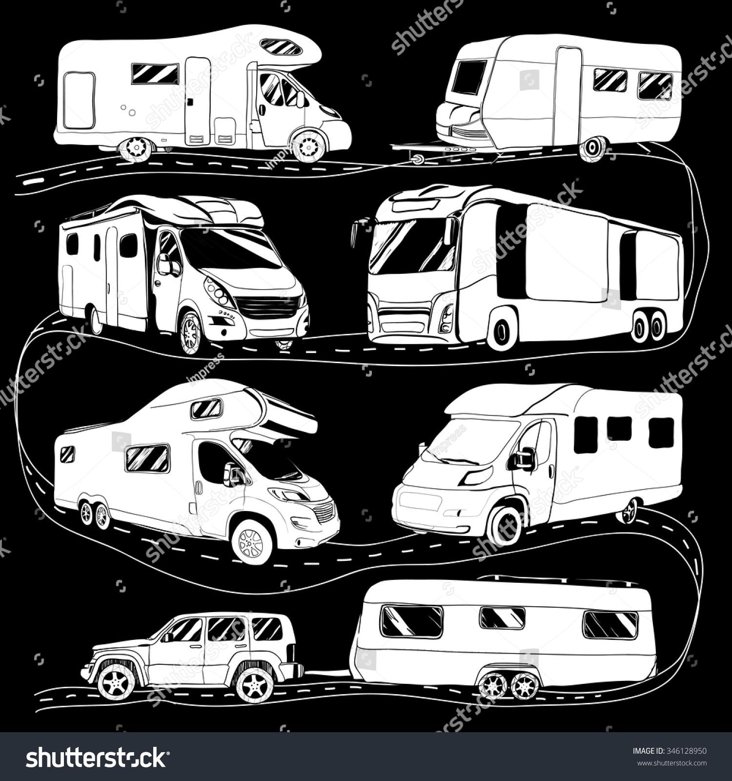 Cars Recreational Vehicles Camper Vans Caravans Icons Vector Illustration Motorhome On Black Background