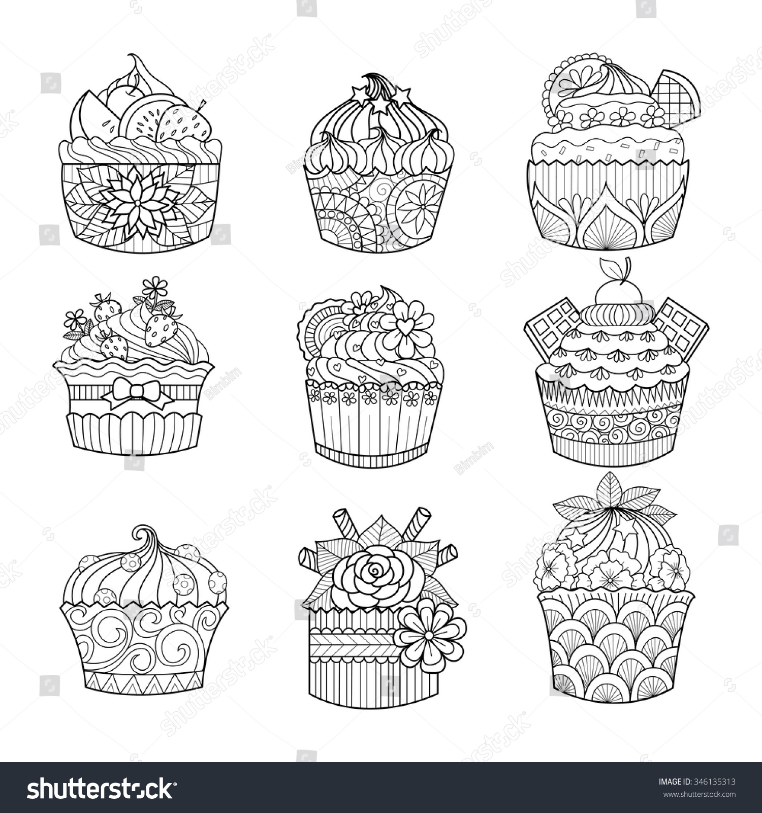 Hand Drawn Cupcake Coloring Book Adult Stock Vector 346135313