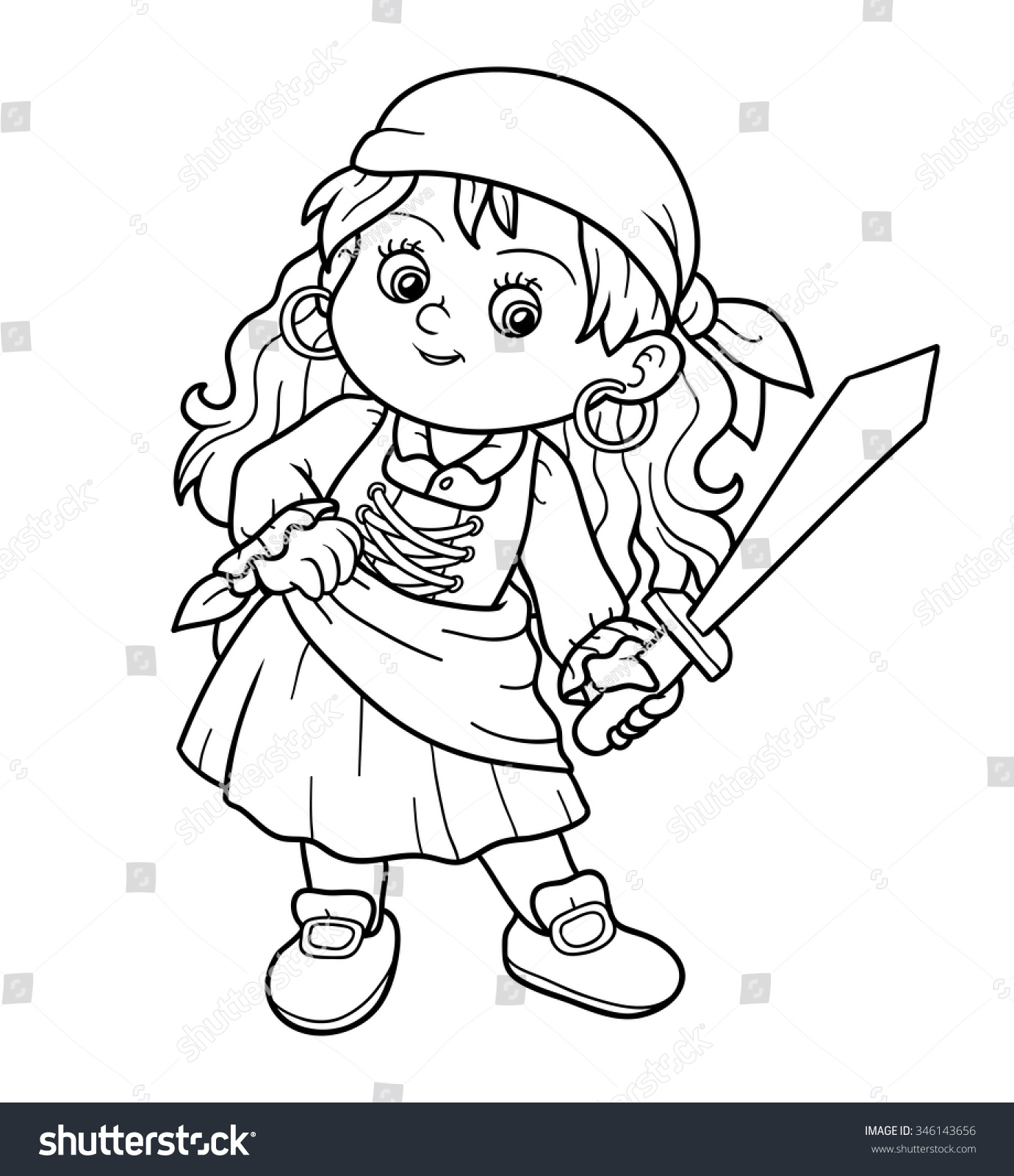 Coloring book for girl - Coloring Book For Children Pirate Girl