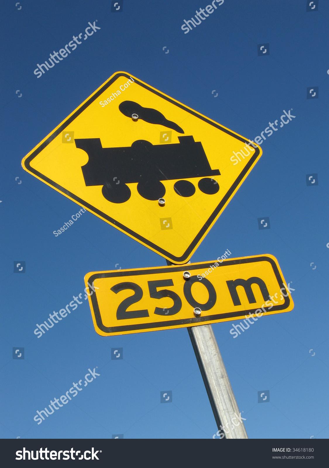 road sign train crossing 250 m stock photo 34618180