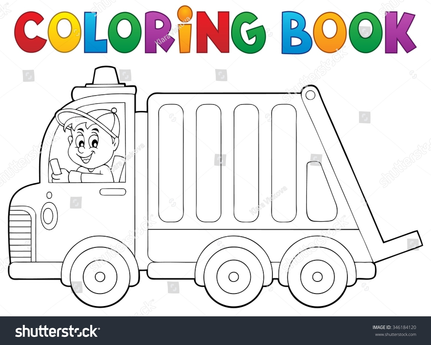 coloring book garbage collection truck eps10 vector illustration - Coloring Book Truck
