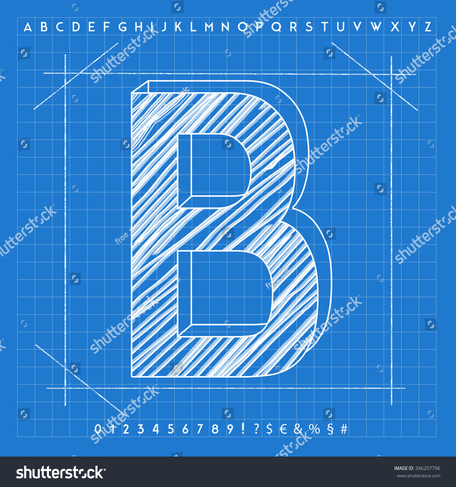 High quality 3 d blueprint font letter stock illustration 346207796 high quality 3d blueprint font letter b malvernweather Gallery