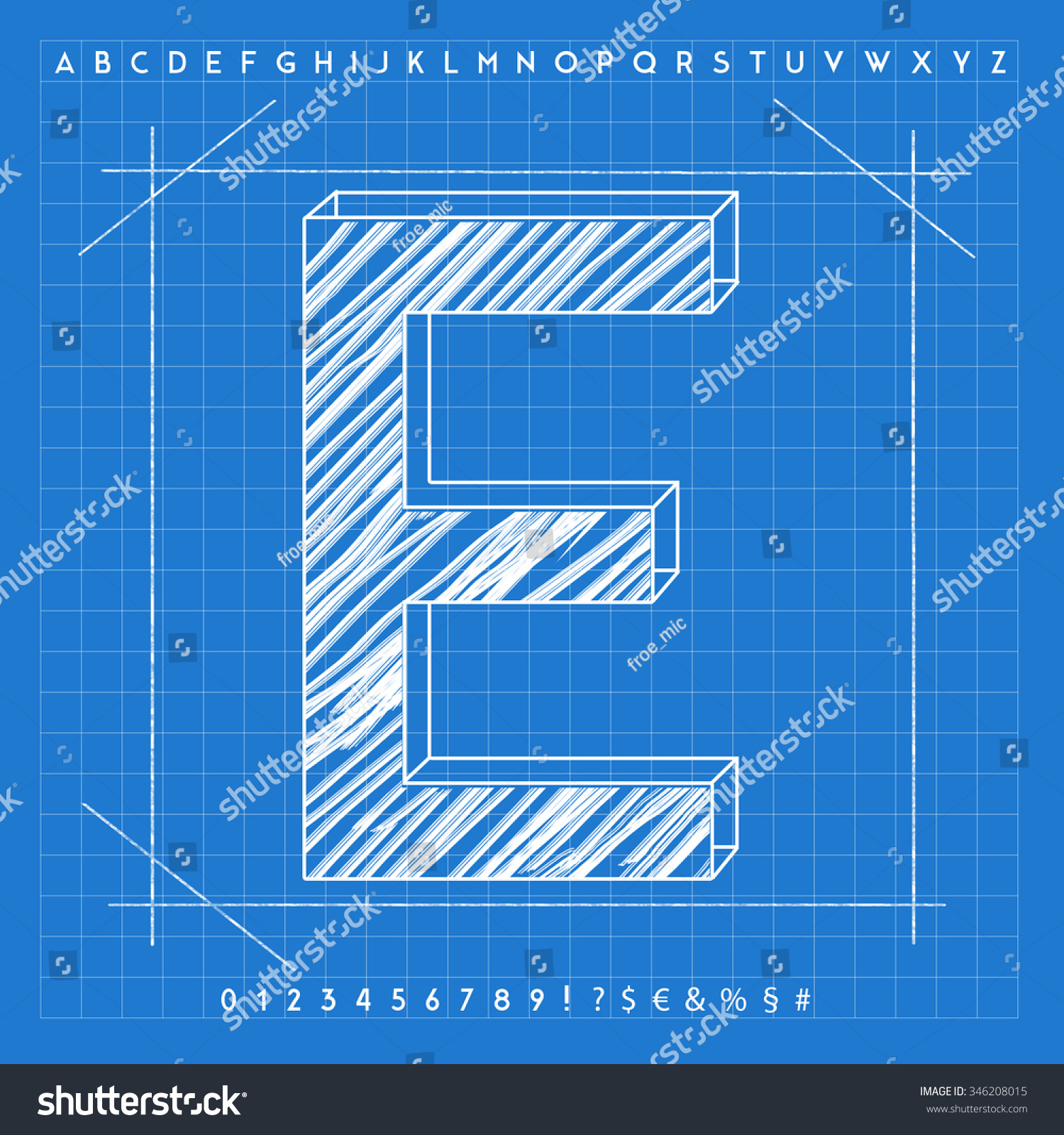High quality 3 d blueprint font letter stock illustration 346208015 high quality 3d blueprint font letter e malvernweather Gallery
