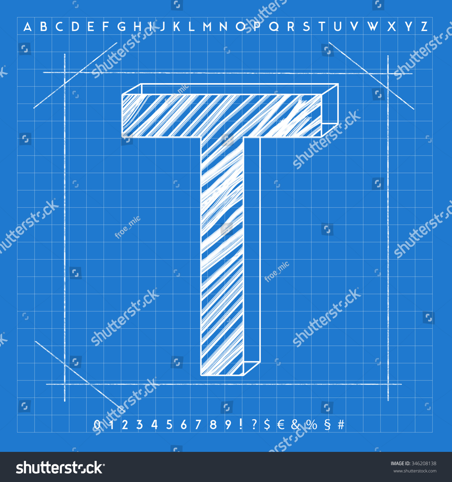 High quality 3d blueprint font letter stock illustration 346208138 high quality 3d blueprint font letter t malvernweather Gallery