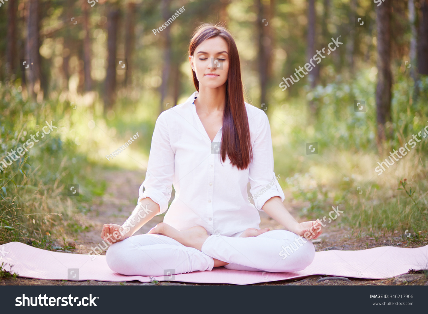 Beautiful Woman Meditating Nature Stock Photo Edit Now 346217906